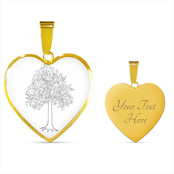 Tupelo Tree on White - Heart - Lux. SS or 18k GF on Surgical Steek Snake Chain Necklace