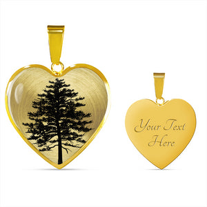 Red Pine Tree on SS or 18k GF - Heart - Luxury Small Snake Chain Necklace