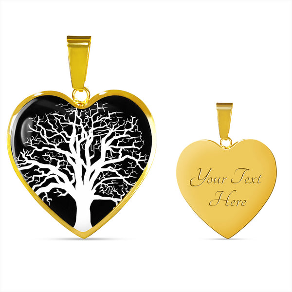 Ash Tree at Night – Heart Charm – Lux. SS or 18k GF on Surgical Steel Bangle