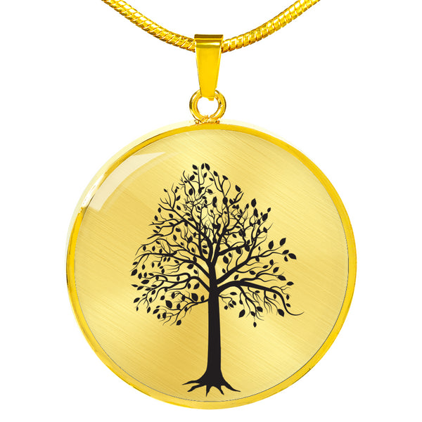 Tupelo Tree on SS or 18k GF on Surgical Steel - Circle - Lux. Snake Chain Necklace