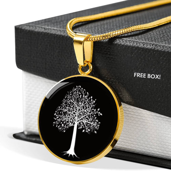Tupelo Tree at Night - Circle - Lux. SS or 18k GF on SS Snake Chain Necklace