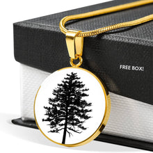 Red Pine Tree on White - Circle - Lux. SS or 18k GF Small Snake Chain Necklace