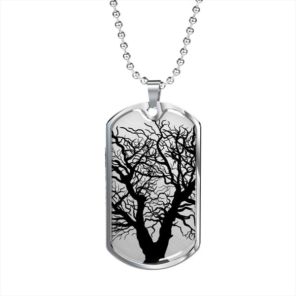 Oak Tree on Surgical Steel or 18k GF  - Luxury Dog Tag & Military Ball Chain