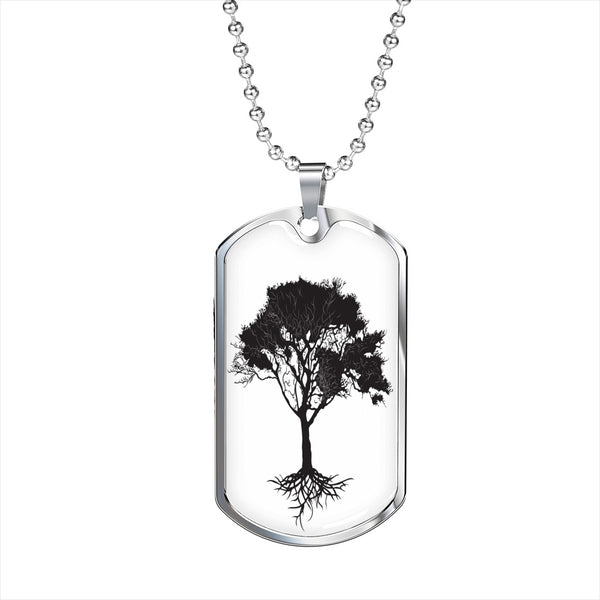 Umbrella Tree on White - Lux. SS or 18k GF on Surgical Steel Dog Tag & Ball Chain