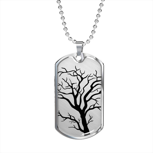 Branch Tree on White - Luxury Surgical Steel or 18k GF on SS Dog Tag Ball Chain
