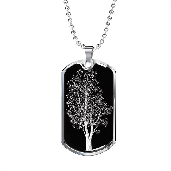 Birch Tree at Night - Luxury SS or 18k GF Dog Tag & Ball Chain