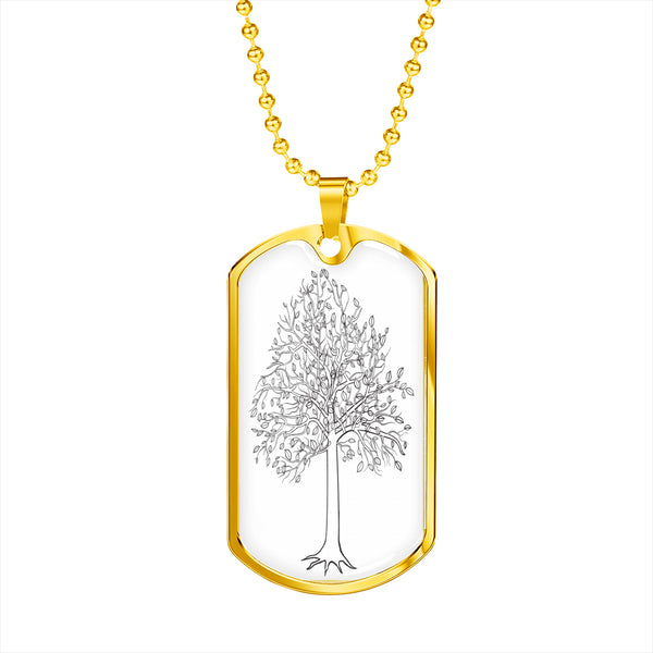 Tupelo Tree on White - Lux. SS or 18k GF on Surgical Steel Dog Tag & Ball Chain