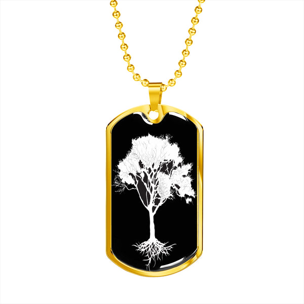 Umbrella Tree at Night - Lux. SS or 18k GF on Surgical Steel Dog Tag & Ball Chain