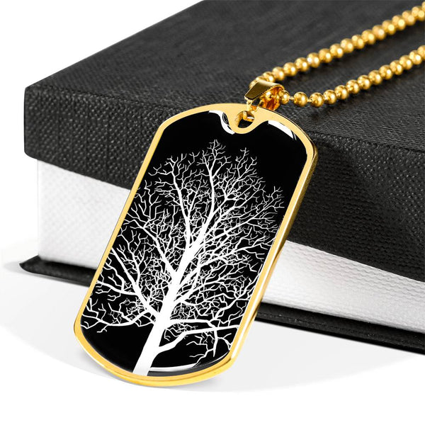 Maple Tree at Night or 18k GF - Luxury Dog Tag & Military Ball Chain