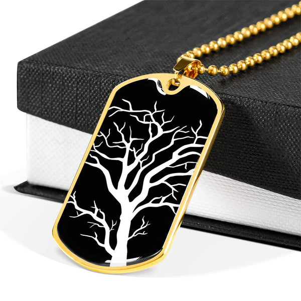 Branch Tree at Night - Luxury Surgical Steel or 18k GF on SS Dog Tag  Ball Chain