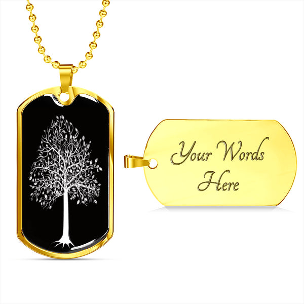 Tupelo Tree at Night - Lux. SS or 18k GF on SS Dog Tag & Ball Chain