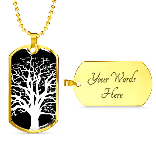 Ash Tree at Night - Lux. SS or 18k GF on SS Dog Tag & Military Ball Chain