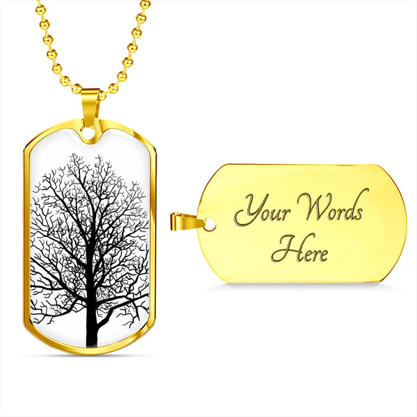 Maple Tree on White or 18k GF - Luxury Dog Tag & Military Ball Chain