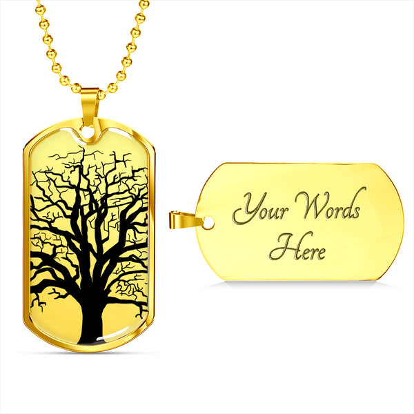 Ash Tree on SSl or 18k GF on Surgical Steel - Lux. Dog Tag & Ball Chain