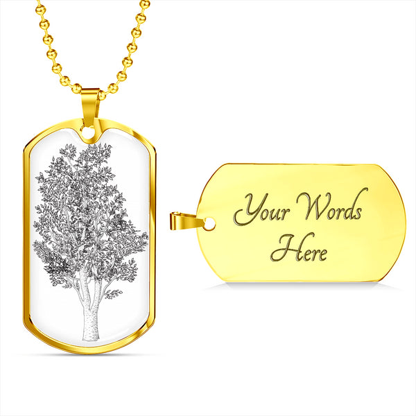 Birch Tree on White - Luxury SS or 18k GF Dog Tag Ball Chain