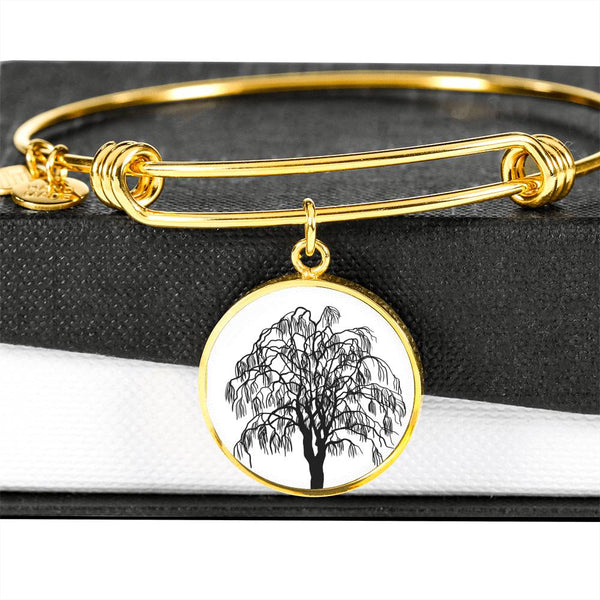 Willow Tree on White – Circle Charm – Lux. SS or 18k GF on Surgical Steel Bangle