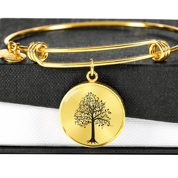 Tupelo Tree on SS or 18k GF on Surgical Steel – Circle Charm – Luxury Bangle