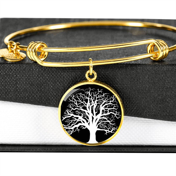 Ash Tree at Night – Circle Charm – Lux. SS or 18k GF on Surgical Steel Bangle