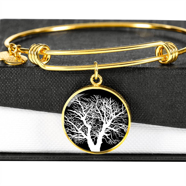 Oak Tree at Night – Circle Charm – Lux. SS or 18k GF on Surgical Steel Bangle