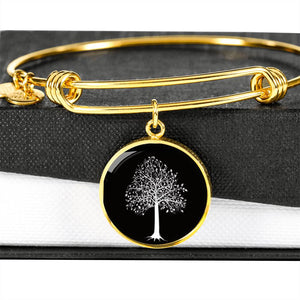 Tupelo Tree at Night – Circle Charm – Lux. SS or 18k GF on Surgical Steel Bangle
