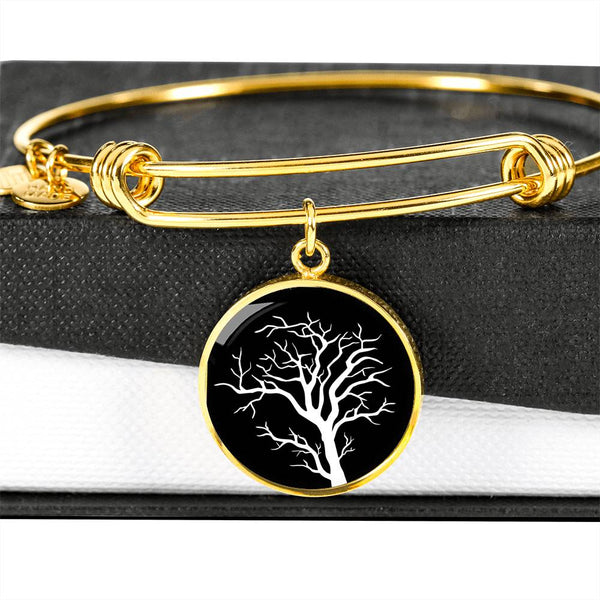 Branch Tree at Night – Circle Charm – Lux. SS or 18k GF on Surgical Steel Bangle
