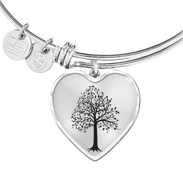 Tupelo Tree on SS or 18k GF on Surgical Steel - Heart Charm – Luxury Bangle