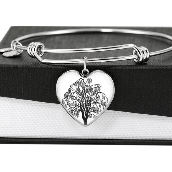 Willow Tree at on White – Heart Charm – Luxury Surgical Steel or 18k GF on Surgical Steel Bangle