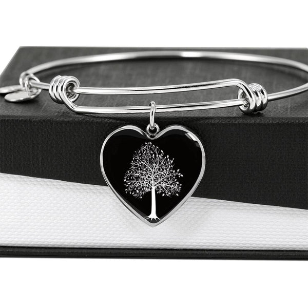 Tupelo Tree at Night – Heart Charm – Luxury SS or 18k GF on Surgical Steel Bangle