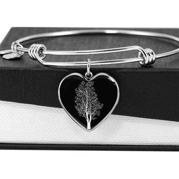 Birch Tree at Night – Heart Charm – Luxury Surgical Steel or 18k GF on Surgical Steel Bangle