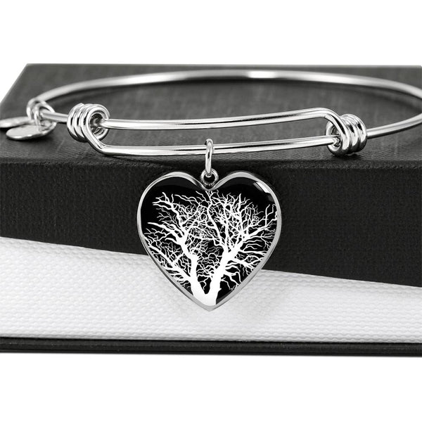 Oak Tree at Night – Heart Charm – Lux. SS or 18k GF on Surgical Steel Bangle