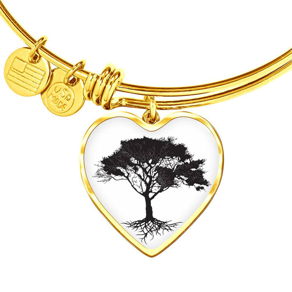 Umbrella Tree at on White – Heart Charm – Lux. SS or 18k GF on Surgical Steel Bangle