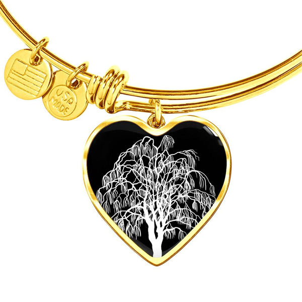 Willow Tree at Night – Heart Charm – Luxury Surgical Steel or 18k GF on Surgical Steel Bangle