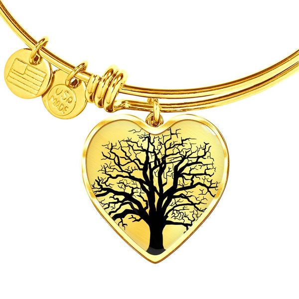 Ash Tree on SS or 18k GF on Surgical Steel - Heart Charm – Luxury Bangle