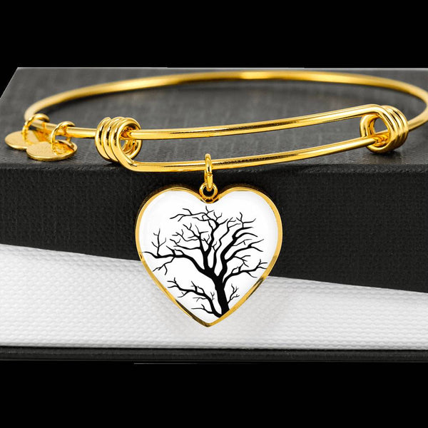 Branch Tree at on White – Heart Charm – Lux. SS or 18k GF on Surgical Steel Bangle