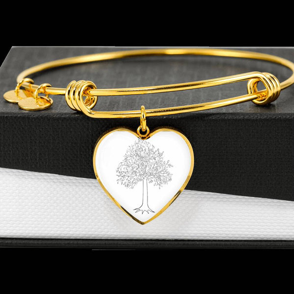 Tupelo Tree at on White – Heart Charm – Luxury SS or 18k GF on Surgical Steel Bangle