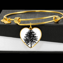 Red Pine Tree on White – Heart Charm – Luxury Surgical Steel or 18k GF Bangle