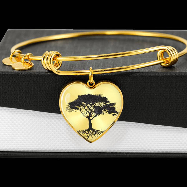 Umbrella Tree on SS or 18k GF on Surgical Steel - Heart Charm – Lux. Bangle