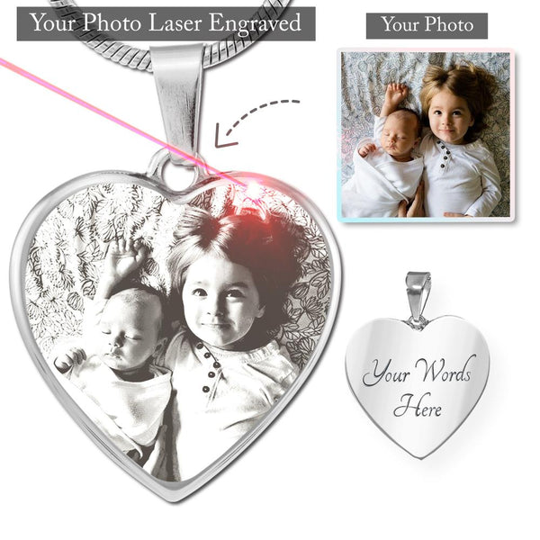 Photo Laser Engraved - Heart – Lux. SS or 18k GF Small Snake Chain Necklace