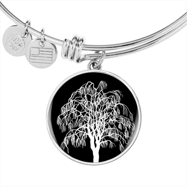 Willow Tree at Night – Circle Charm – Lux. SS or 18k GF on Surgical Steel Bangle