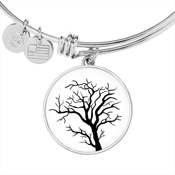 Branch Tree on White – Circle Charm – Lux. SS or 18k GF on Surgical Steel Bangle