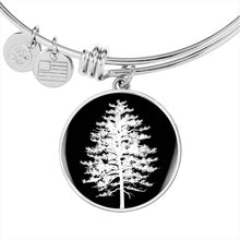 Red Pine Tree at Night – Circle Charm – Luxury Surgical Steel or 18k GF Bangle
