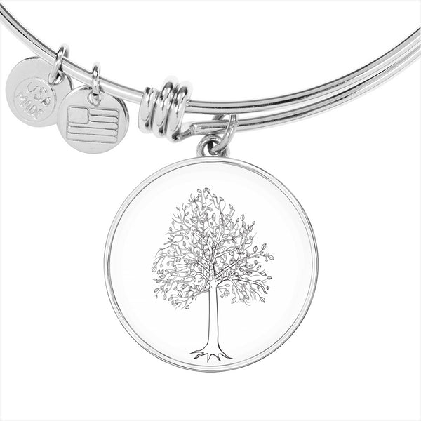 Tupelo Tree on White – Circle Charm – Lux. SS or 18k GF on Surgical Steel Bangle