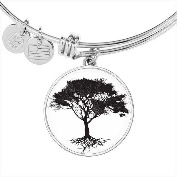 Umbrella Tree on White – Circle Charm – Lux. SS or 18k GF Bangle