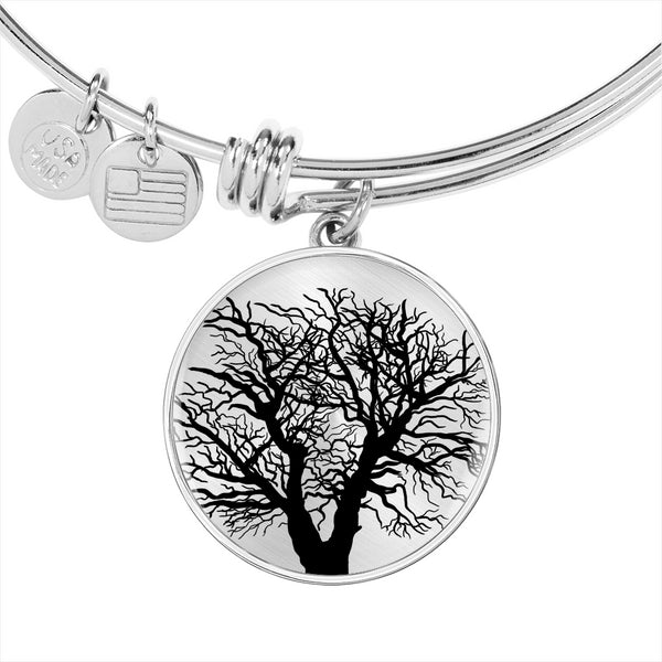Oak Tree on SS or 18k GF on Surgical Steel – Circle Charm – Lux. Bangle