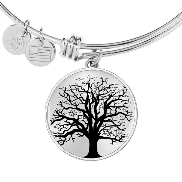 Ash Tree on SS or 18k GF on Surgical Steel – Circle Charm – Luxury Bangle