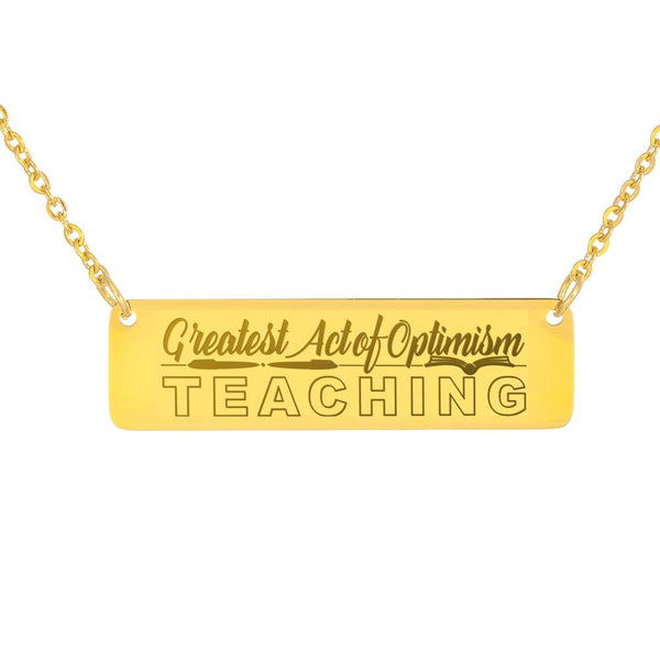 Thank You Teacher Gift For Teacher Trendy Jewellery Gold Bar Necklace Handcraft Made In USA