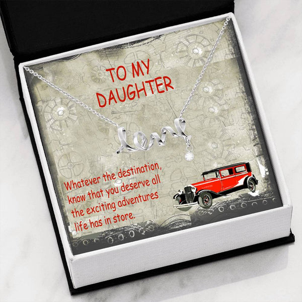 To My Daughter Trendy Gift Script Necklace Luxury Jewelery Cubic Zirconia Handmade W/T Cute Card