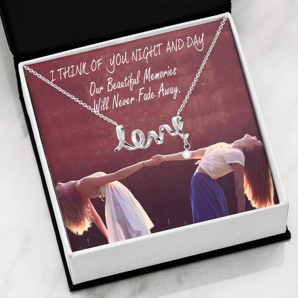 Perfect Gift Everytime I Think Of You Friend Jewelry Script Necklace Cubic Zirconia W/T Nice Card