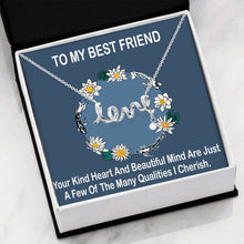 Unique Gift To My Best Friend Beautiful Jewelry Script Necklace Cubic Zirconia 18k Gold Finish