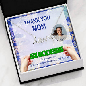 Thanks Mom Gift For You Best Jewelry Script Necklace 18k Yellow Gold Finish W/T Customize Card
